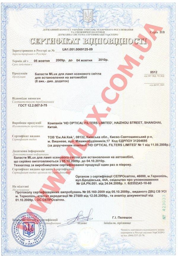 Сертификат Mlux УКРСЕПРО